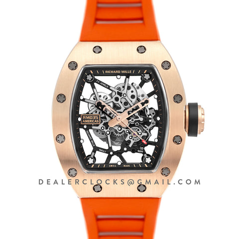 RM 035-02 Black Toro Americas in Rose Gold on Orange Rubber Strap