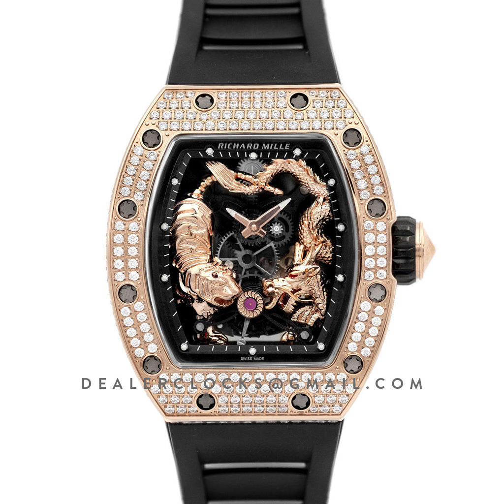 RM 051-01 Tourbillion Tiger and Dragon in Rose Gold with Diamond Bezel on Black Rubber Strap