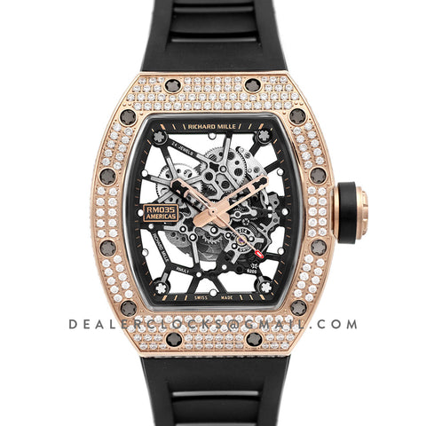 RM 035-02 Black Toro Americas in Rose Gold with Diamond Bezel on Black Rubber Strap