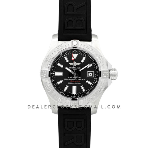 Avenger II Seawolf Black Dial in Steel on Rubber Strap