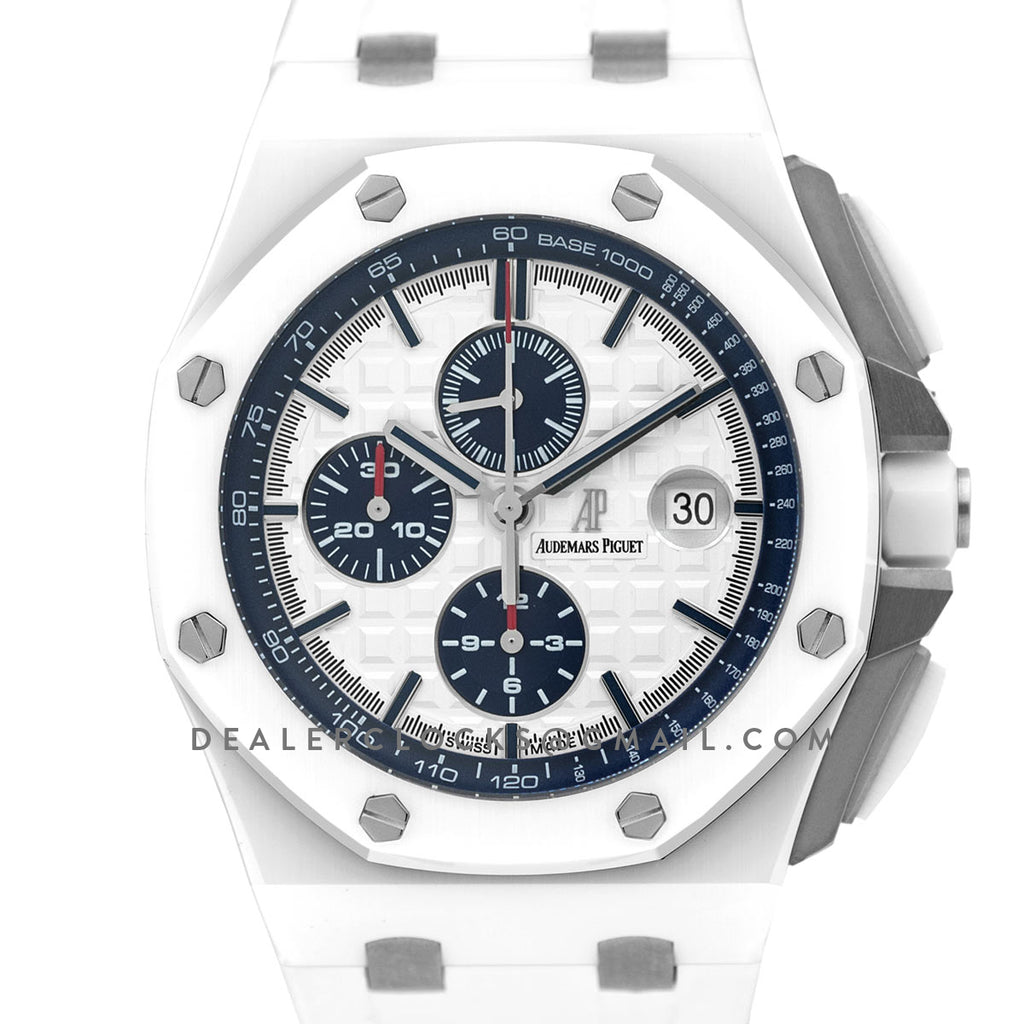 Ap royal oak offshore novelty 44mm in white ceramic 26402cb replica dealer clocks for Royal oak offshore ceramic