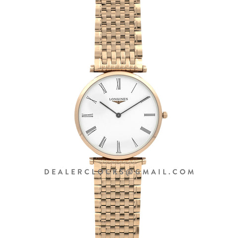 La Grande Classique De Longines 37mm White Dial in Rose Gold on Bracelet