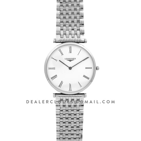 La Grande Classique De Longines 37mm White Dial in Steel on Bracelet