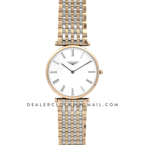 La Grande Classique De Longines 37mm White Dial in Rose Gold on Two Toned Bracelet