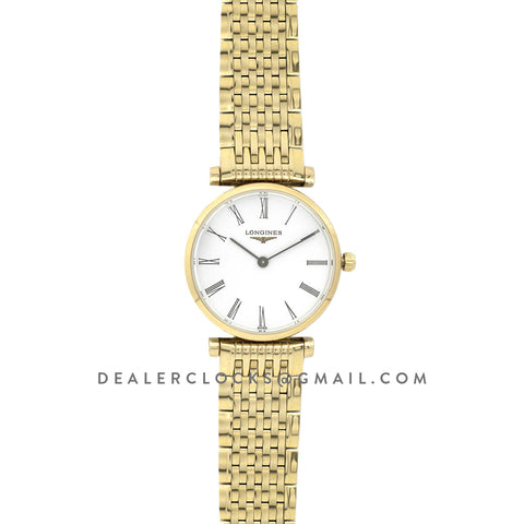 La Grande Classique De Longines 24mm White Dial in Yellow Gold on Bracelet