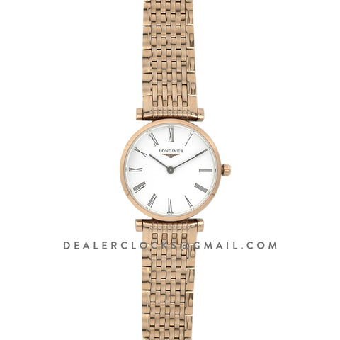 La Grande Classique De Longines 24mm White Dial in Rose Gold on Bracelet