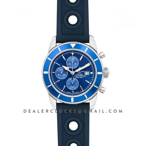 Superocean Heritage II Chronograph 46 Blue Dial in Steel with Blue Bezel on Rubber Strap