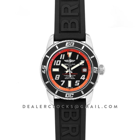 Superocean II 42 Black/Red Dial in Steel