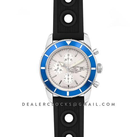 Superocean Heritage II Chronograph 46 Silver Dial in Steel with Blue Bezel on Rubber Strap