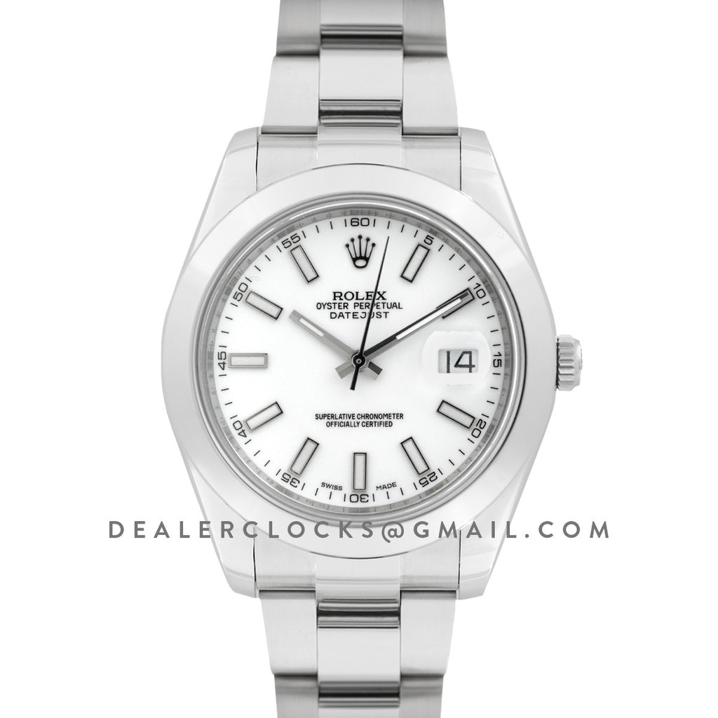 Datejust II 116300 White Dial Stick Markers