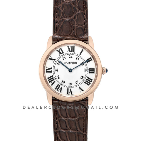 Ronde Solo de Cartier 36mm White Dial in Pink Gold on Brown Alligator Leather Strap