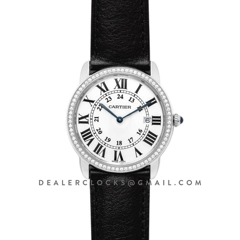 Ronde Louis Cartier Watch 36mm White Dial in White Gold on Black Leather Strap