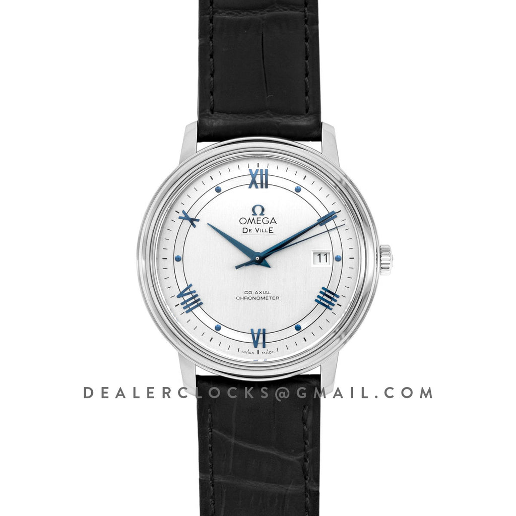 De Ville Co-Axial Chronometer White Dial with Blue Markers in Steel