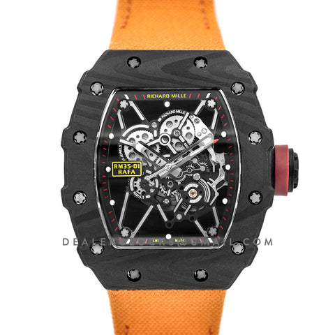 RM 035-01 Rafael Nadal Carbon on Orange Nylon Strap