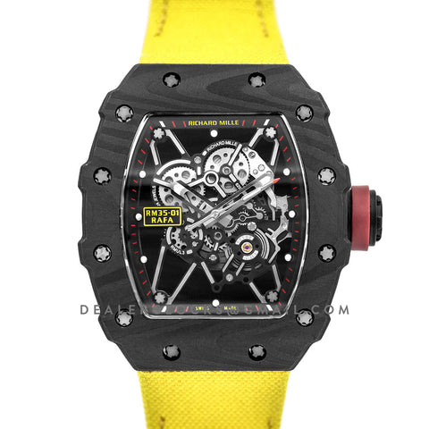 RM 035-01 Rafael Nadal Carbon on Yellow Nylon Strap