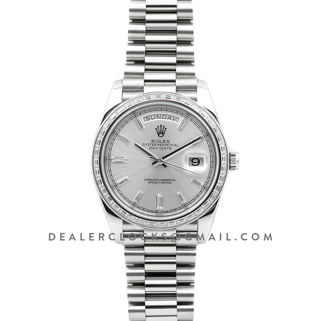 Day-Date 40 White Gold Diamond Bezel 228349 Silver Dial