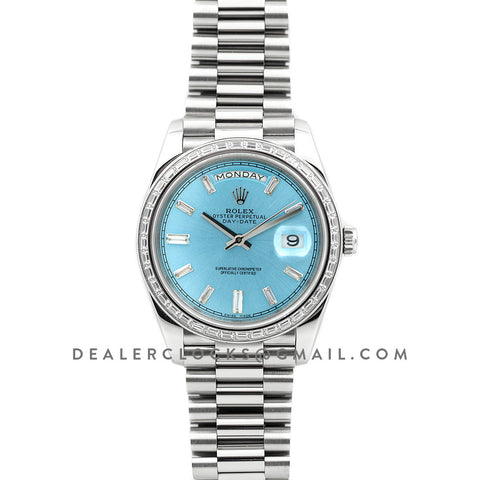 Day-Date 40 Platinum Diamond Bezel 228396 Ice Blue Dial