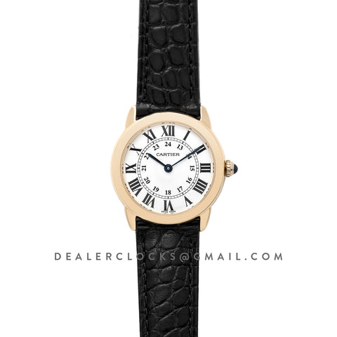 Ronde Solo de Cartier 29mm White Dial in Yellow Gold on Black Alligator Leather Strap
