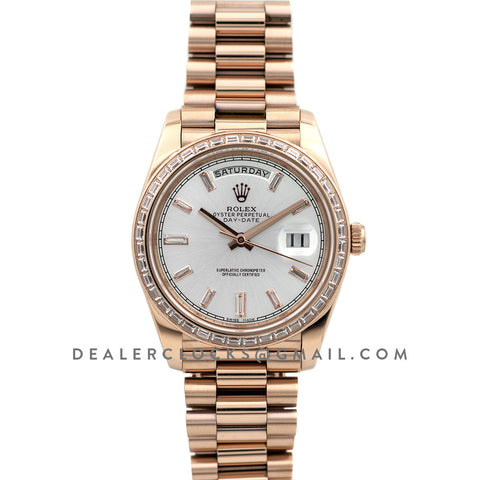 Day-Date 40 Everose Gold Diamond Bezel 228235 Silver Dial