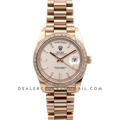 Day-Date 40 Everose Gold Diamond Bezel 228235 Pink Dial