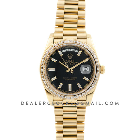 Day-Date 40 Yellow Gold Diamond Bezel 228398 Black Dial