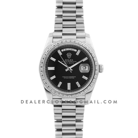 Day-Date 40 White Gold Diamond Bezel 228349 Black Dial
