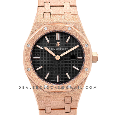 Lady Royal Oak 67650OR Black Dial in Frosted Rose Gold