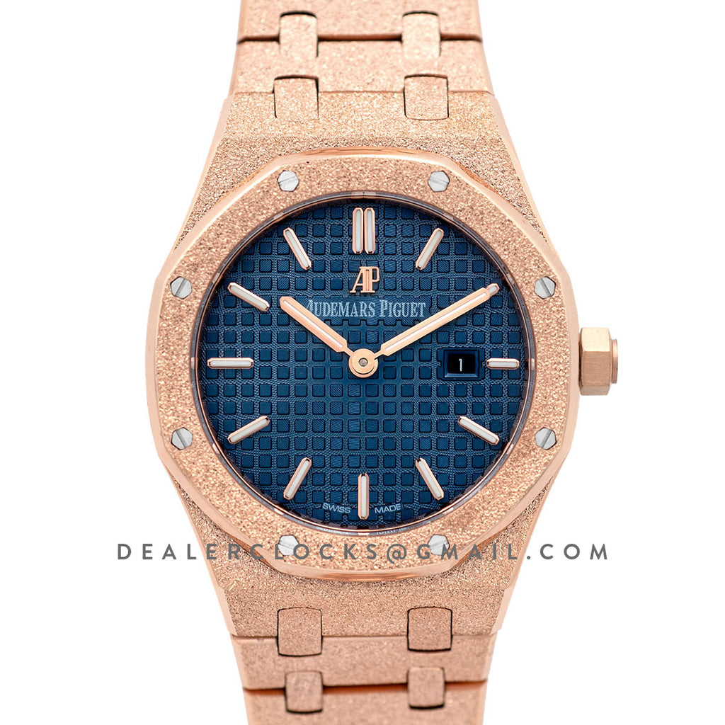 Lady Royal Oak 67650OR Blue Dial in Frosted Rose Gold