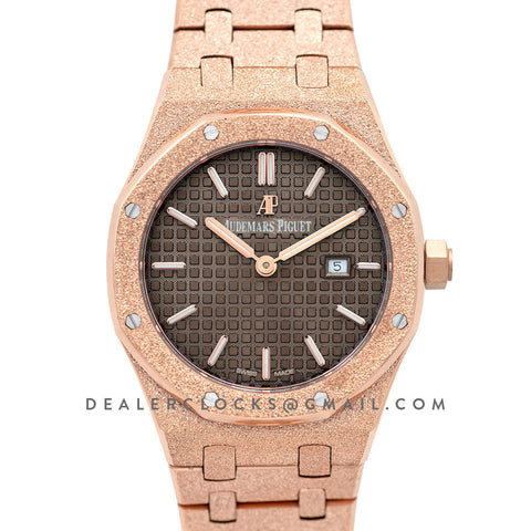 Lady Royal Oak 67650OR Brown Dial in Frosted Rose Gold