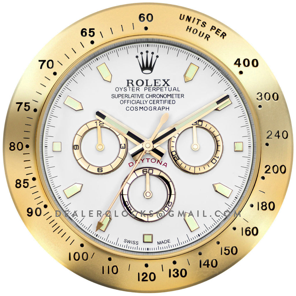 Xxl Rolex Daytona Gold Wall Clock Dealer Clocks