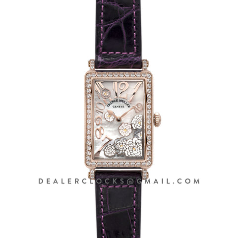 Long Island Peony in Rose Gold on Violet Leather Strap