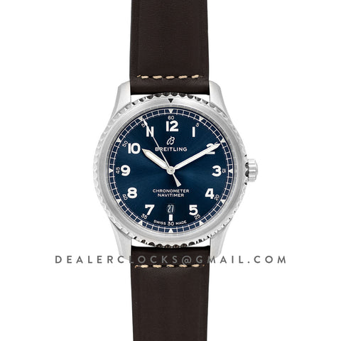 Navitimer 8 Automatic 41 Blue Dial in Steel on Brown Leather Strap