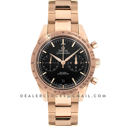 Speedmaster '57 Co-Axial Black Dial in Rose Gold on Bracelet