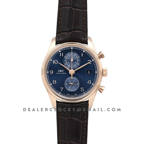 Portugieser Chronograph Classic IW3903 Blue Dial in Rose Gold