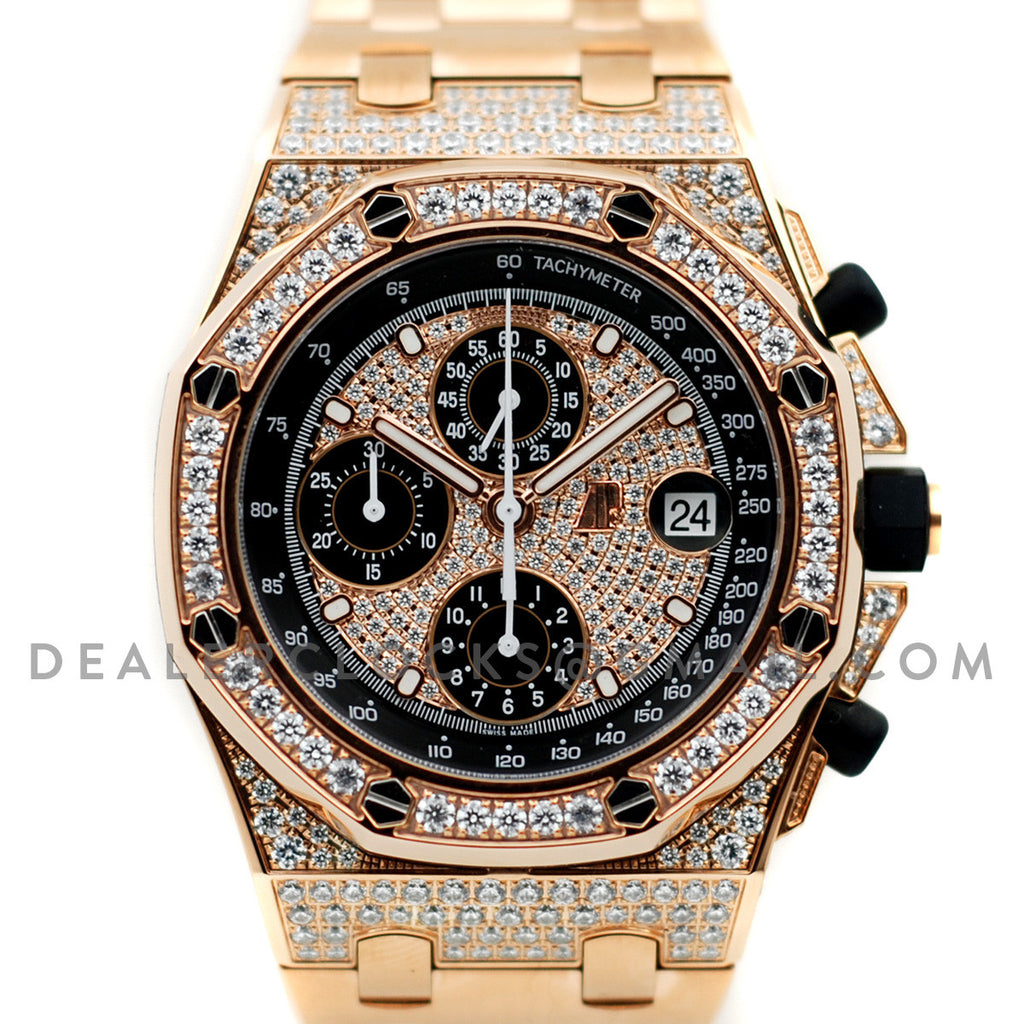 Royal Oak Offshore Rose Gold Full Paved Diamonds