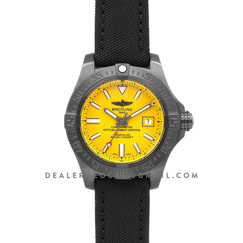 Avenger II Seawolf Blacksteel Yellow Dial in DLC Steel on Nylon Strap