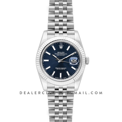 Datejust 41 126334 Blue Dial Stick Markers in White Gold