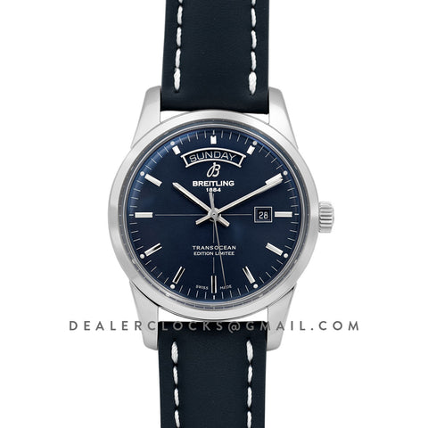 Transoccean Day & Date 'Edition Limitee' Blue Dial in Steel on Leather Strap