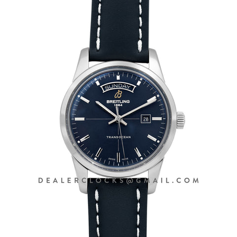 Transoccean Day & Date Blue Dial in Steel on Leather Strap