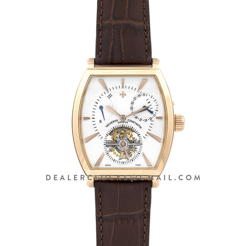 Malte Tourbillion White Dial in Rose Gold on Brown Leather Strap