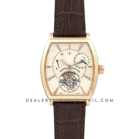 Malte Tourbillion Cream Dial in Rose Gold on Brown Leather Strap