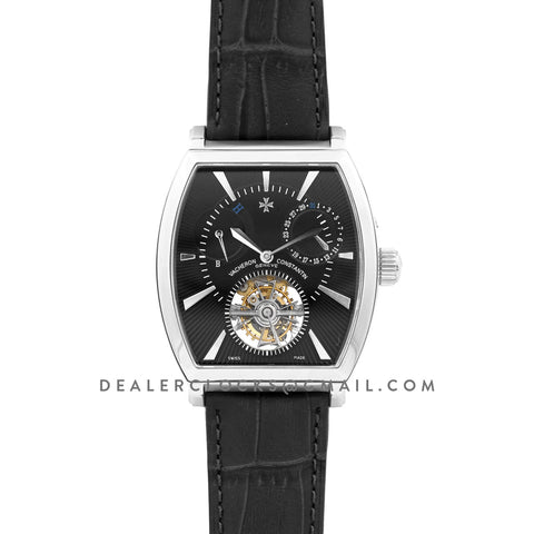 Malte Tourbillion Black Dial in Steel on Black Leather Strap
