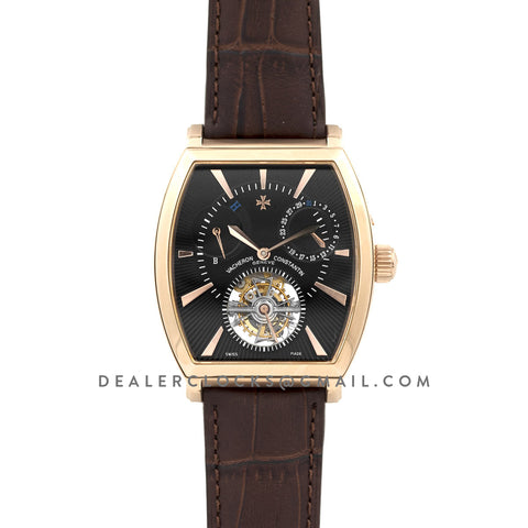 Malte Tourbillion Black Dial in Rose Gold on Brown Leather Strap