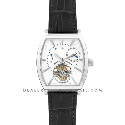 Malte Tourbillion White Dial in Steel on Black Leather Strap