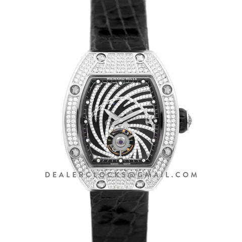 RM 051-02 Tourbillon Diamond Twister in White Gold on Black Strap
