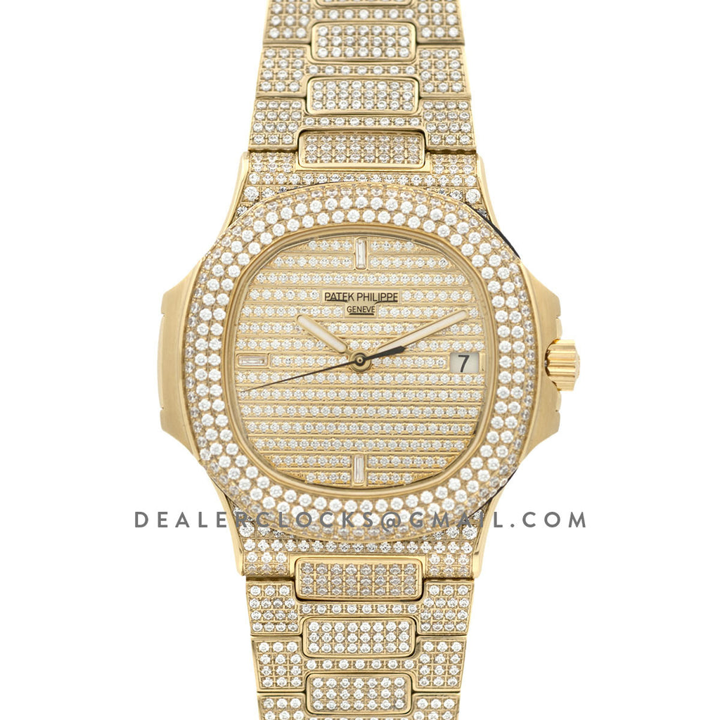 d9b04968c35 Nautilus Jumbo 5711 Diamond Dial in Yellow Gold with Paved Diamonds