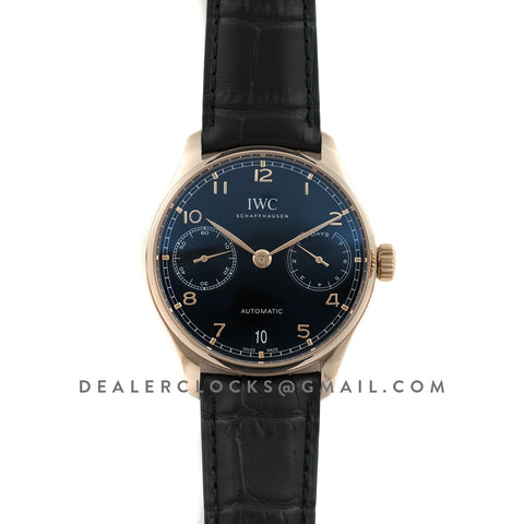 Portuguese Automatic 7 Day IW5007 Black dial in Rose Gold
