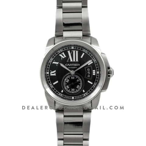 Calibre de Cartier Black Dial on Steel Bracelet