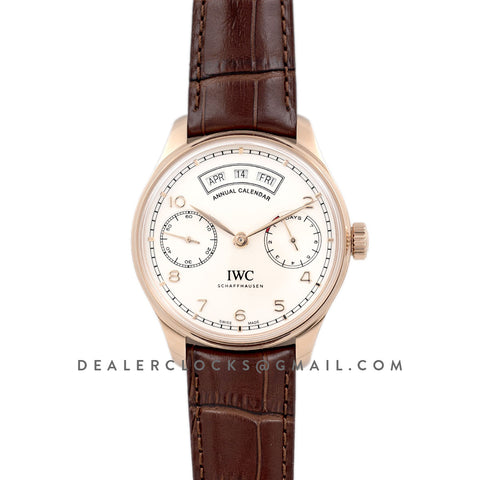 Portugieser Annual Calendar IW503504 White Dial in Rose Gold