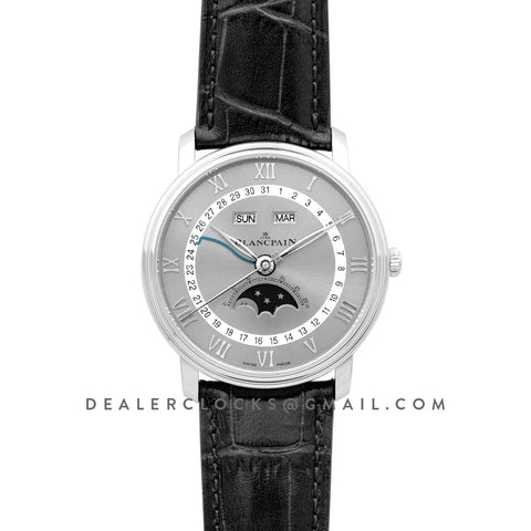 Blancai Villeret Quantieme Complet in Grey Dial on Black Leather Strap